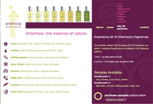 Artemesia site Perfume selection Page