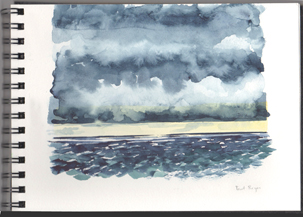 watercolor of clouds over Pt Reyes