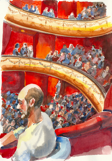 watercolor of theatre